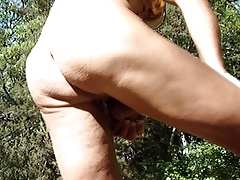 In the forest with hard-on in