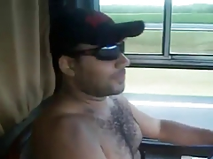 Nude Hairy man Trucker!