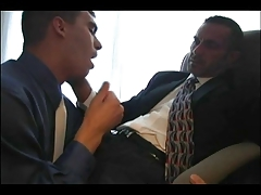 suited dad penetrates stud..