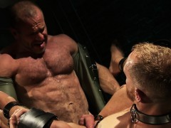 Bondage frayed hunks jizz